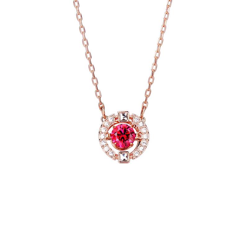 SWAROVSKI 施华洛世奇 跳动的心红色镶钻银项链 时尚精致锁骨链 5279421