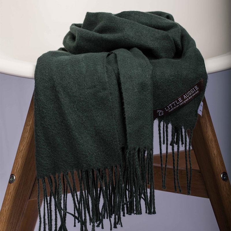 LITTLE AUSSIE 羊毛围巾 墨绿色 200*70cm