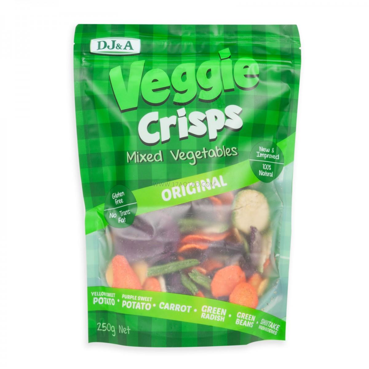 DJ&A Veggie Crisps 有机蔬菜干 6种有机蔬菜 原味 250G