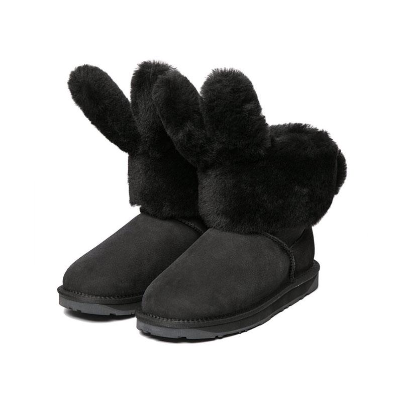 Everugg 兒童款雪地靴 邦尼兔 黑色
