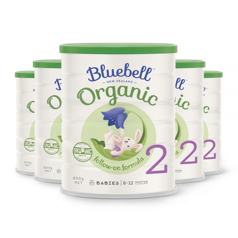 Bluebell 嬰幼兒配方有機牛奶粉2段 800g*6罐  適合6-12個月寶寶