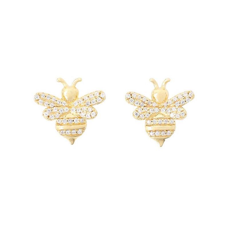 Apm 金黃色純銀鑲晶鉆蜜蜂耳釘 AE10256OXY
