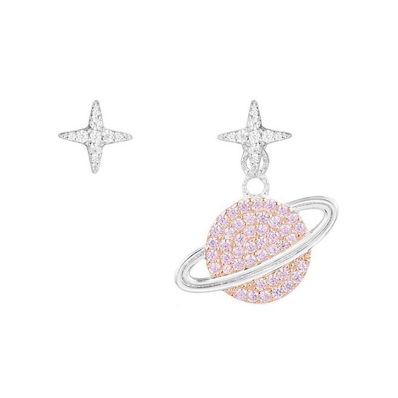 Apm 純銀鑲晶鉆粉色星球不對稱耳環 AE10559XORW