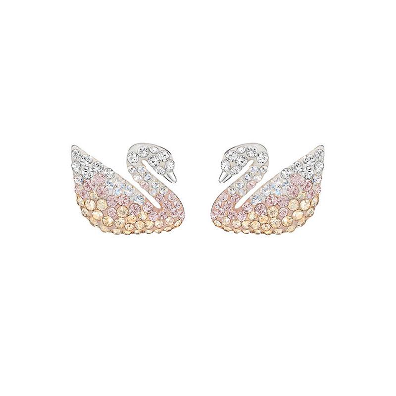 SWAROVSKI 施華洛世奇 漸變天鵝 時尚百搭耳環 鍍白金色 5215037