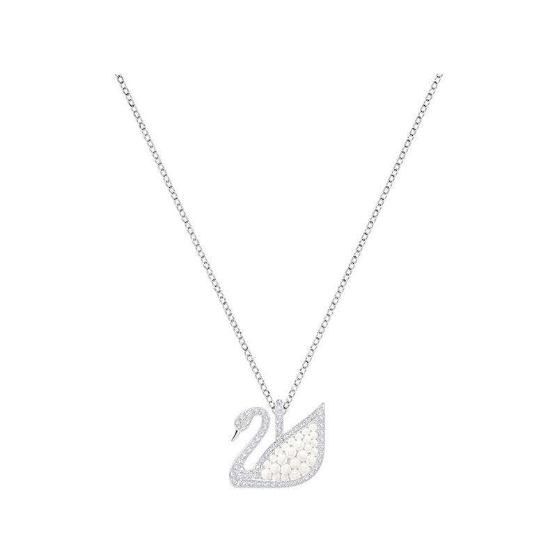 SWAROVSKI 施華洛世奇 ICONIC大號珠光天鵝項鏈 白色 5411791 仿珍珠天鵝