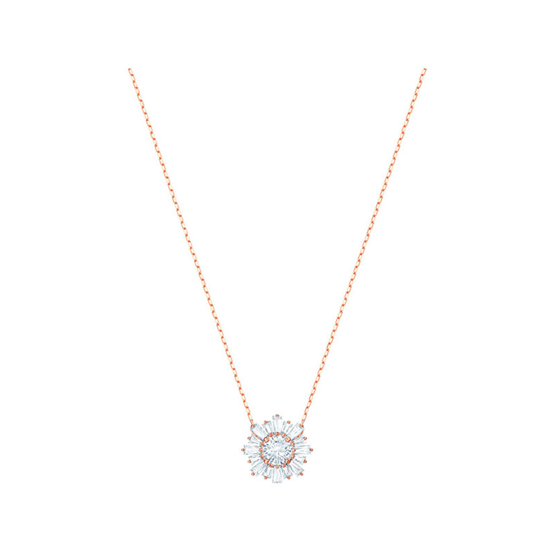 SWAROVSKI 施華洛世奇 鍍玫瑰金色 太陽花項鏈 時尚雅致 5451376
