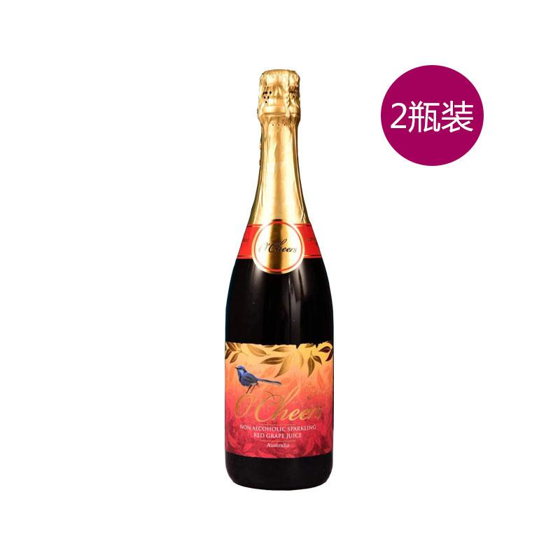 O'Cheers 澳莱喜悦无醇起泡葡萄汁  750ML*2 (红)两瓶