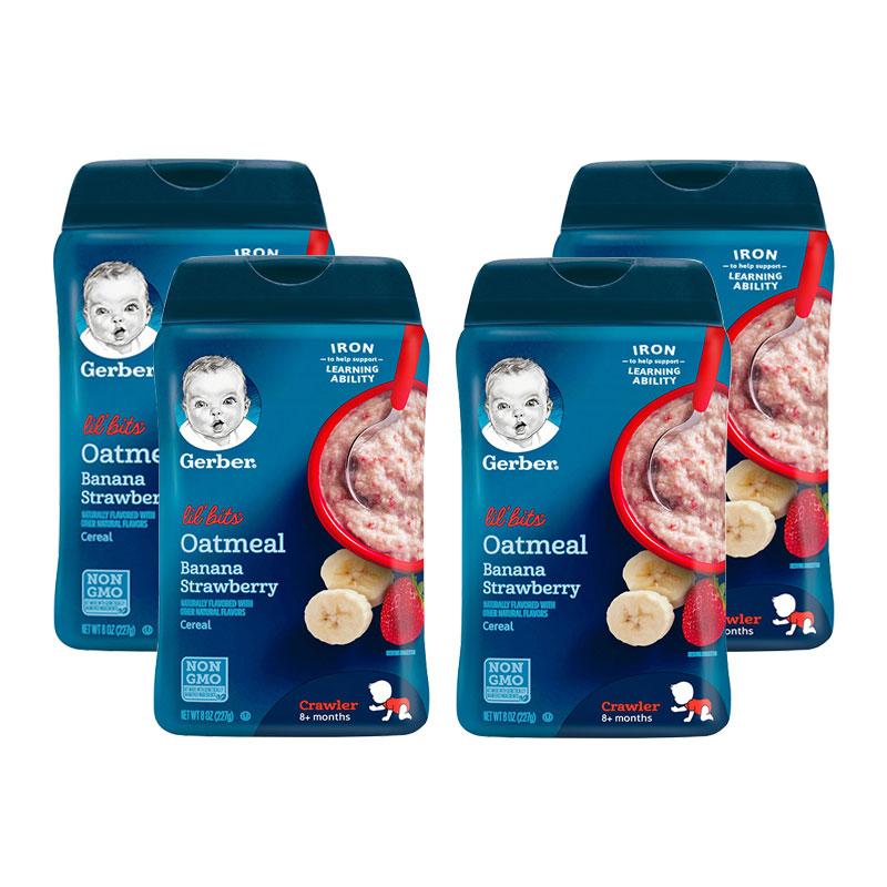 美國 Gerber 嘉寶 香蕉草莓谷物燕麥米粉 3段 227g*4件