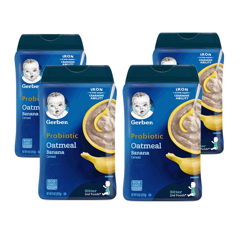 美國 Gerber 嘉寶 香蕉燕麥 益生菌米粉米糊 2段 227g*4件