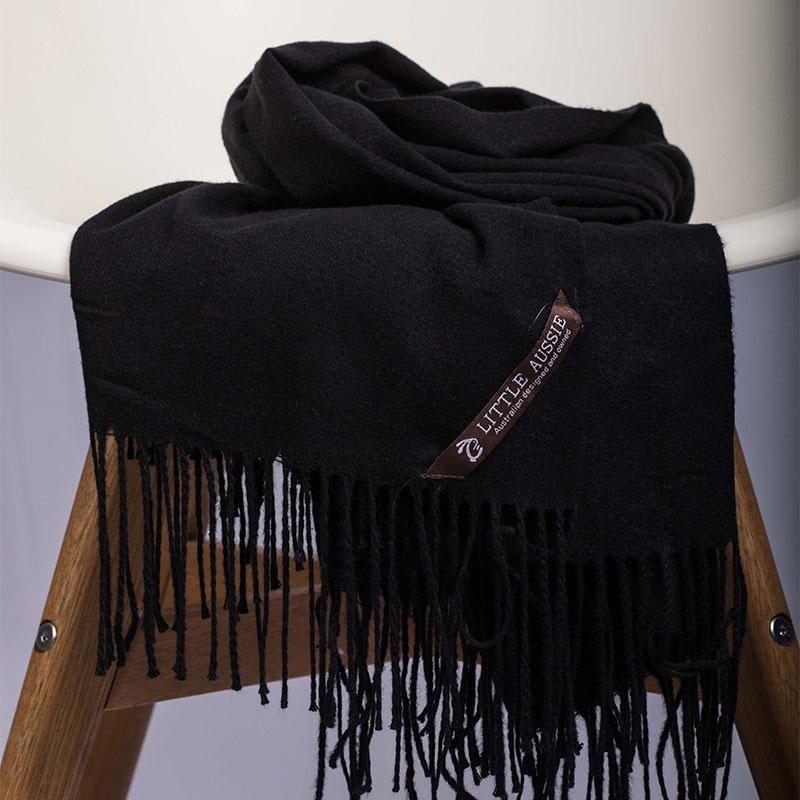 LITTLE AUSSIE 羊毛围巾 黑色 200*70cm