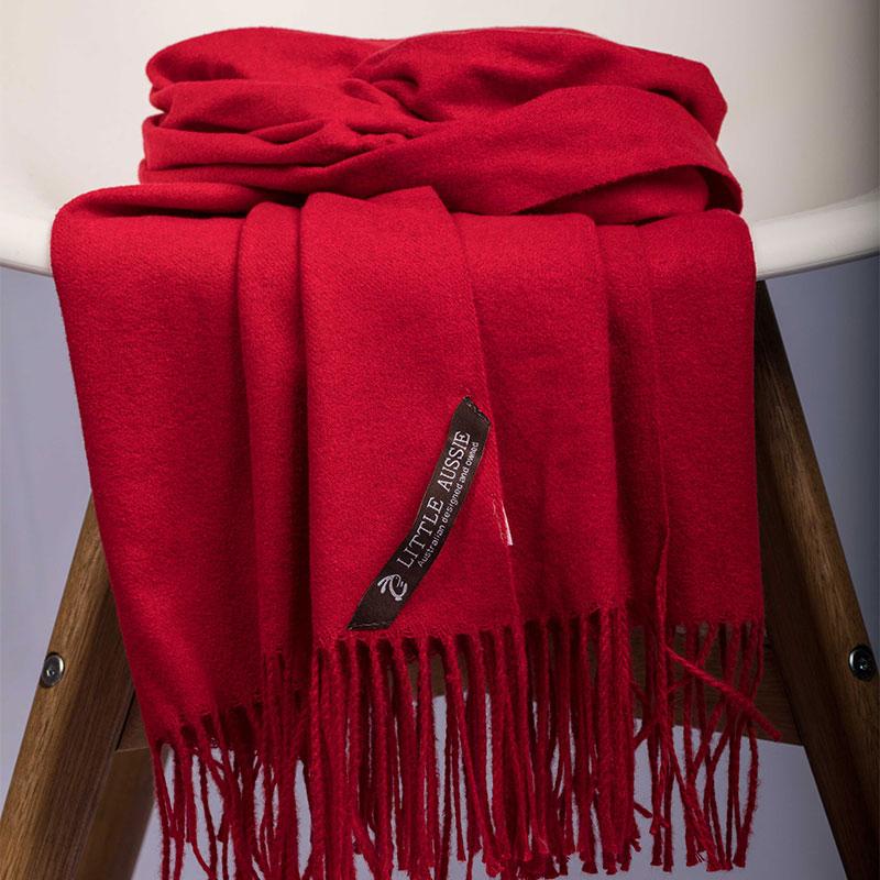 LITTLE AUSSIE 羊毛圍巾 紅色 200*70cm