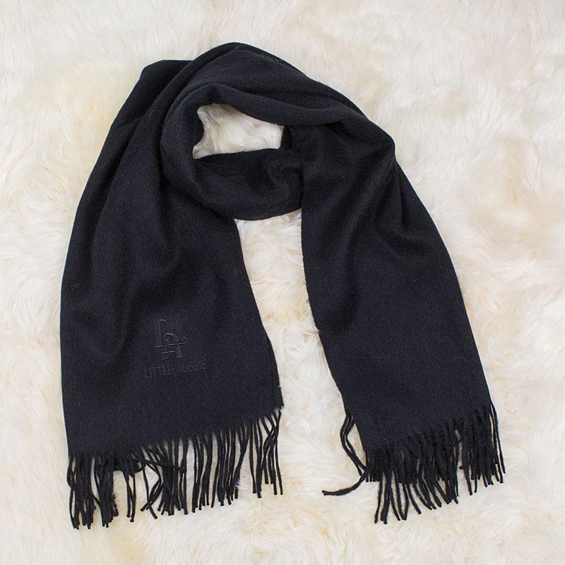 LITTLE AUSSIE 駝絨圍巾 黑色 180*30cm
