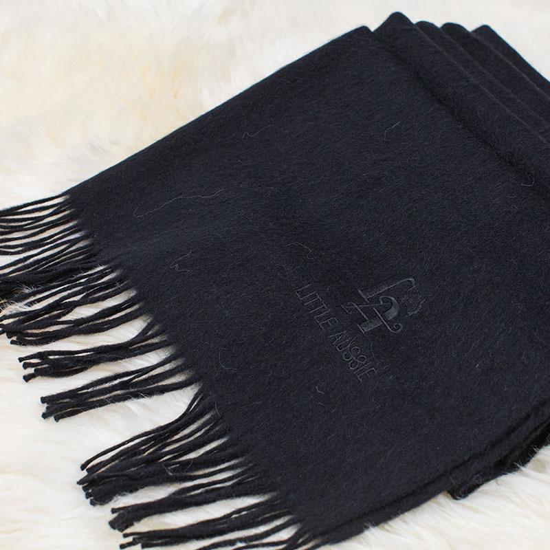LITTLE AUSSIE 駝絨圍巾 黑色 200*70cm