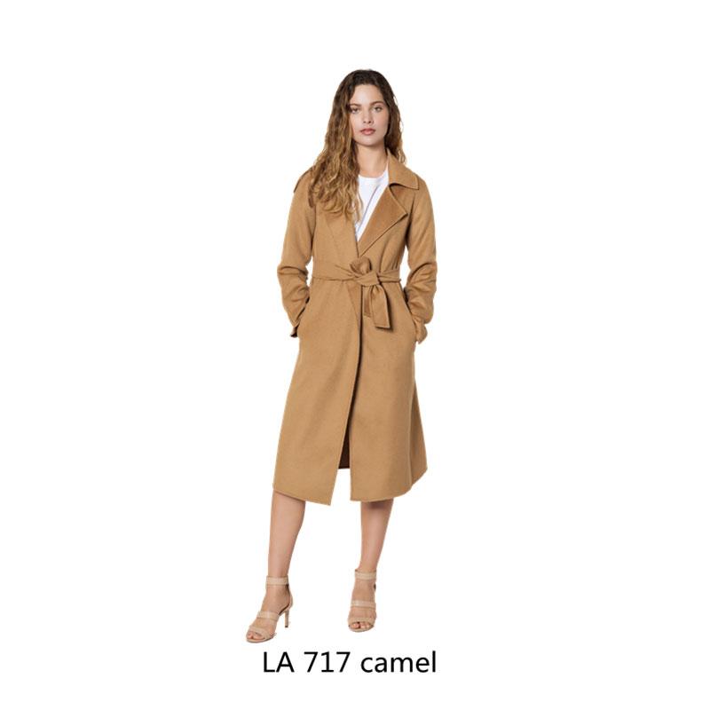 LITTLE AUSSIE  Anne安妮 水波纹修身版过膝长款翻领羊绒大衣 金驼色