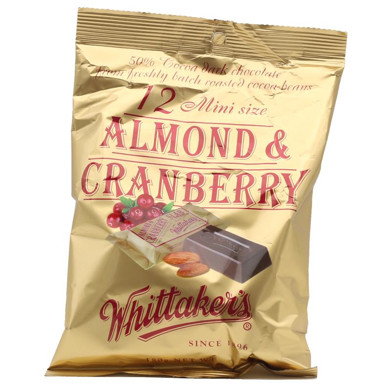 Whittakers 惠特克巧克力 天然有機迷你獨立包裝 杏仁蔓越莓味 12塊 180克