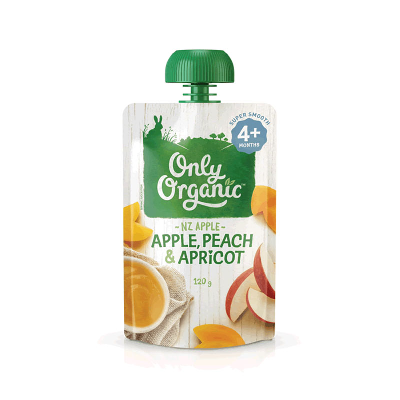 Only Organic嬰幼兒天然谷物果泥  4個月以上嬰幼兒 杏子,桃子&蘋果口味 120g 兒童輔食 美味營養