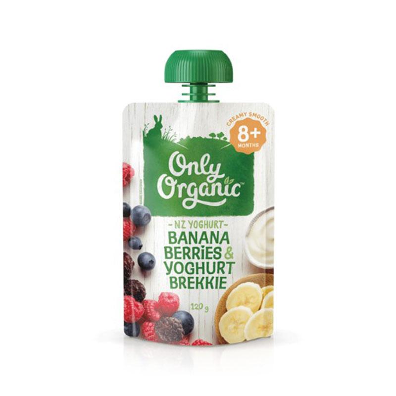 Only Organic嬰幼兒天然谷物果泥  9個月以上嬰幼兒 香蕉,漿果&優酪口味 120g 兒童輔食 美味營養