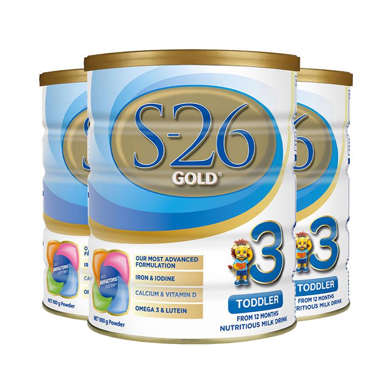 S26 惠氏 金裝嬰幼兒奶粉 三段 900g*3罐